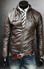 Mens Fashion Genuine Leather Slim Fit Stylish Dark Brown Leather Jacket