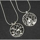Equilibrium Silver Plated Mono Tones Round Pendant Necklace Sold Individually