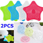 2X Silicone Bath Sink Hair Food Strainer Catcher Plug Shower Floor Drain Cover