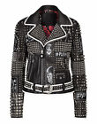 Punk Style Soft Leather Fashion Jackets Silver Studded Leather Slim Fit jackets