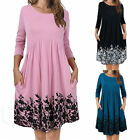 US Womens O-Neck Long Sleeve A-Line Swing Dress Flared Long Tunic Top Plus Size