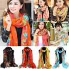 Womens Flower Print Long Scarf Vintage Wrap Lady Large Shawl Voile Scarves Stole