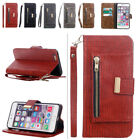 Magnetic Closure PU Leather Case Zipper Wallet Stand Cover for iPhone 6 S 7 Plus