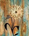 Rustic Modern Brown Blue Home Decor Floral Wall Art Matted Picture