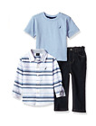 New Nautica Boys Button up, Tee and Denim Pant Set 24 Months, 4, 7 MSRP $54.50