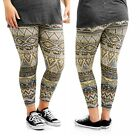 Women's Plus Fleece Lined Stretchy Leggings Multi-colored Tribal Geometric 1x 2x