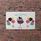Personalised Photo Cake Balloons Spotty Birthday Party Banner Flag & 4 Eyelets
