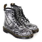Dr Martens Women's 1460 Egret Playing Card Print Leather Boot Black