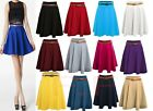 plus size Ladies Girls Skirts Women's Belted Flared Plain Mini Skater Skirt 8-22