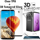 TPU Case + Full Cover Tempered Glass Screen Protector For Samsung Galaxy Models