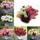 12 Heads Artificial Fake Silk Rose Leaf Flower Garland Home Wedding  Decor US