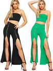 Womens Plain Boob Tube Bandeau Crop Top Split Flared Trousers Ladies Co-Ord Set
