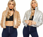 Womens Metallic Padded Cropped Short Jacket Ladies Long Sleeve Zip Puffa Coat