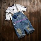 Mens Boy Jeans Suspender Shorts Pants Denims Ripped Hole Jumpsuits Overalls 2018
