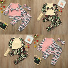 Casual Toddler Baby Girls Boys Camouflage Bow Tops Pants Out