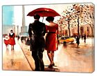 COUPLE WITH RED UMBRELLA OIL PAINT PRINT ON FRAMED  CANVAS WALL ART   LANDSCAPE