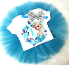 First 1st Birthday Princess Elsa Frozen Queen Blue Headband Tutu Outfit Set Baby
