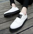 Vintage Men's Lace Up Wing Tip High Platform Creepers Brogue Oxfords Shoes