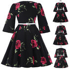 Girl's Retro Flower Pattern Cotton Party Dress Vintage Evening Dress Casual 2018