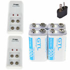 4pcs 900mAh Li-ion Rechargeable Batteries & 9 Volt 9-VOLT Charger 9V High Volume