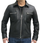 Mens Fashions Vintage Feel Black Leather Jacket 70s Style Collar Fitted Waist
