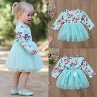 Toddler Baby Girl Long Sleeve Floral Tulle Party Pageant Formal Dress Clothes UK