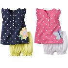 Baby Toddler Girl Flower/Butterfly Vest Cute Top+Pants Outfit Dress Clothes Set