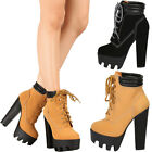boot lace up - New Women Round Toe Lace Up Ankle Bootie Boot Lug Sole Platform Chunky High Heel
