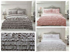 Flamenco Ruffle Frills Grey / Pink / White Duvet Quilt Cover Bed Set - All Sizes