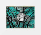 Teal Tree Moon Modern Bedroom Wall Art Home Decor Matted Picture