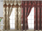 Kyпить Luxury Jacquard Curtain Panel with Attached Waterfall Valance 54