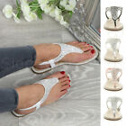 Womens ladies flat t-bar toe post beach wedding slingback diamante sandals size