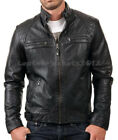 Mens Black Leather Jacket Genuine Sheep Leather Biker Style ST-82