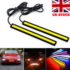 2x Led Strip Drl Daytime Running Lights Fog Cob Car Lamp White Day Driving 12v