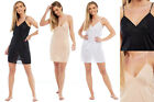 Ladies Womens Full Slip Cami Vest Satin Nightie Weave V Neck Adjustable Straps