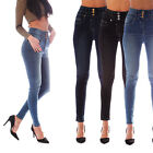 Womens Ladies High Waisted Blue Skinny Jeans Stretch Denim Jegging Sizes 6-18 LB