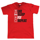 Eat Sleep Fly Repeat, Mens Funny, Aeroplane T Shirt, Gift Dad