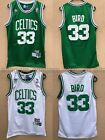 NWT Larry Bird 33 Boston Celtics Jersey Throwback Stitched White Green
