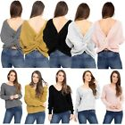 Ladies Wrap Over Front Jumper Womens Knitted Twisted Knot Slouch Fit Baggy Top
