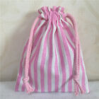 Pink Striped Cotton Linen Drawstring Multi- Purpose Organizer Storage Bag E