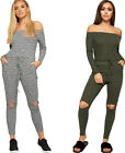 Womens Off Shoulder Long Sleeve Cut Slash Knee Knitted Ribbed Ladies Jumpsuit