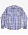 New AGE OF WISDOM Men's Navy Blue Plaid Casual Button Front L/S Woven Shirt $89