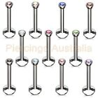 16G Internally Threaded Gem Labret Lip Bar Ring Monroe Body Piercing Jewellery