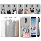 For LG Stylo 3 Plus Stylo 3 Stylus 3 Cat Sparkling Silver TPU Case Cover + Pen