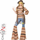 Ladies 60s 70s Costume Harmony Hippie Flares Hippy Fancy Dress Adult Outfit New