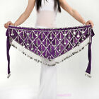New Sexy Belly Dance Costume Hip Scarf Belt Velvet  Silver Coin 11 colours