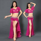 Lace Woman Belly Dance Costume Suits Club Stage 2Pcs Top Long Wear Skirt Dress
