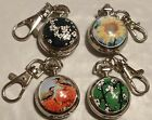 CHOICE SMALL FLOWER BIRD 2-IN-1 NECKLACE/KEYRING POCKET WATCH USA SELLER