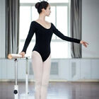 Adult Girls Ladies Black Cotton Long sleeved Ballet Dance Leotard-C062