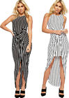 Womens Striped Maxi Dress Ladies Ruched Split Front Monochrome Sleeveless 8-14